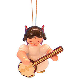 Tree Ornament - Angel with Banjo - Red Wings - Floating - 5,5 cm / 2,1 inch