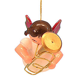 Tree Ornament - Angel with Baritone - Red Wings - Floating - 5,5 cm / 2,1 inch