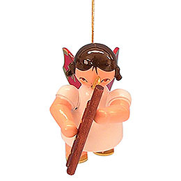 Tree Ornament - Angel with Bassoon - Red Wings - Floating - 5,5 cm / 2,1 inch