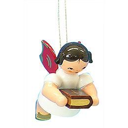 Tree Ornament - Angel with Bible - Red Wings - Floating - 6 cm / 2,3 inch