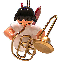Tree Ornament - Angel with Contrabass Trombone - Red Wings - Floating - 5,5 cm / 2.2 inch