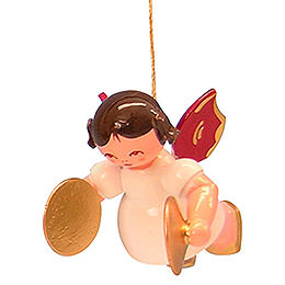 Tree Ornament - Angel with Cymbal - Red Wings - Floating - 5,5 cm / 2,1 inch