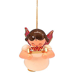 Tree Ornament - Angel with Harmonica - Red Wings - Floating - 5,5 cm / 2,1 inch