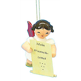 Tree Ornament - Angel with List of Whishes - Red Wings - Floating - 6 cm / 2,3 inch