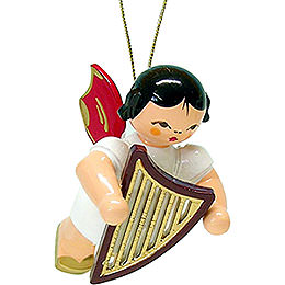 Tree Ornament - Angel with Lyre - Red Wings - Floating - 5,5 cm / 2.1 inch