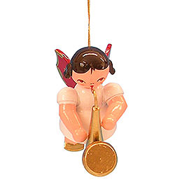 Tree Ornament - Angel with Saxophone - Red Wings - Floating - 5,5 cm / 2,1 inch