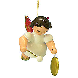 Tree Ornament - Angel with Small Gong - Red Wings - Floating - 5,5 cm / 2,1 inch