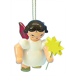 Tree Ornament - Angel with Star - Red Wings - Floating - 6 cm / 2,3 inch