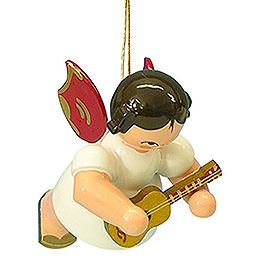Tree Ornament - Angel with Ukulele - Red Wings - Floating - 5,5 cm / 2,1 inch