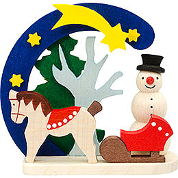 Tree Ornament - Arch and Snowman with Horse - 7 cm / 2.8 inch
