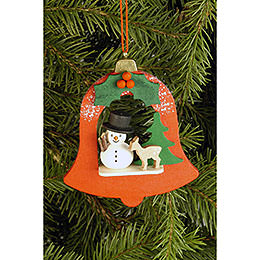 Tree Ornament - Bell with Snowman - 7,1x7,9 cm / 2.8x3.1 inch