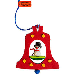 Tree Ornament - Bell with Snowman - 7,5 cm / 3 inch