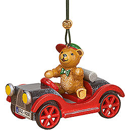 Tree Ornament - Car with Teddy - 5 cm / 2 inch