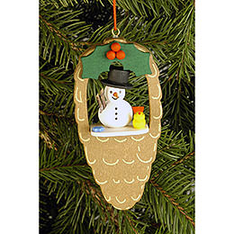 Tree Ornament - Cone with Snowman and Bird - 4,4x8,8 cm / 1.7x3.5 inch