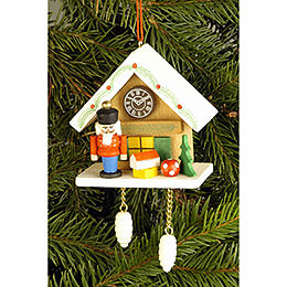 Tree Ornament - Cuckoo Clock Brown with Nutcracker - 6,7x6,3 cm / 2.6x2.5 inch