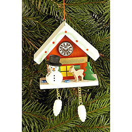 Tree Ornament - Cuckoo Clock Red with Snowman - 6,7x6,3 cm / 2.6x2.5 inch