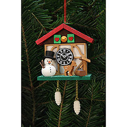 Tree Ornament - Cuckoo Clock Snowman with Well - 7,0x6,7 cm / 3x3 inch