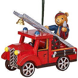 Tree Ornament - Fire Truck with Teddy - 8 cm / 3 inch