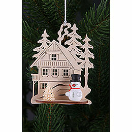 Tree Ornament - Forest House with Mini Snowman, Set of Three - 9x8 cm / 3.5x3. inch