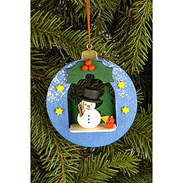 Tree Ornament - Globe with Snowman - 6,7x7,4 cm / 2.6x2.9 inch