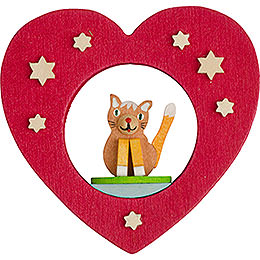 Tree Ornament - Heart with Cat - 7 cm / 2.8 inch