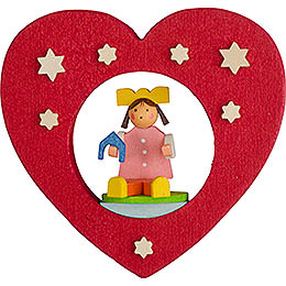 Tree Ornament - Heart with Doll - 7 cm / 2.8 inch
