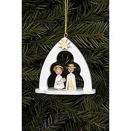 Tree Ornament - Holy Family White - 6,5x6,2 cm / 2.5x2.4 inch