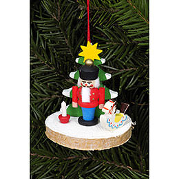 Tree Ornament - Nutcracker on Tree Disc - 5,1x5,1 cm / 2.0x2.0 inch