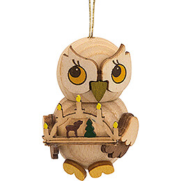 Tree Ornament - Owl Child with Candle Arch - 4 cm / 1.6 inch