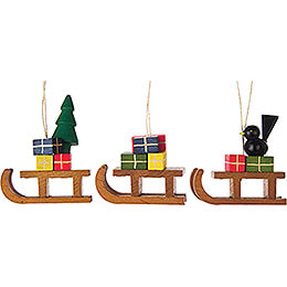 Tree Ornament - Sled, 3 pcs. - 5 cm / 2 inch