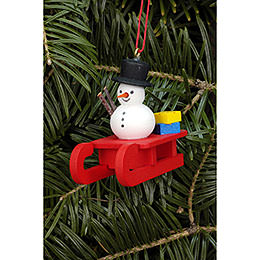 Tree Ornament - Sleigh with Snowman - 5,2x4,5 cm / 2.0x1.8 inch