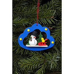 Tree Ornament - Snowman in Angel Cloud - 7,5x5,7 cm / 3x2 inch