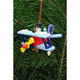 Tree Ornament - Snowman in Plane - 9,6 cm / 3.8 inch