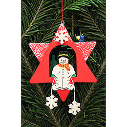 Tree Ornament - Snowman in Star - 9,5x9,5 cm / 3.7x3.7 inch
