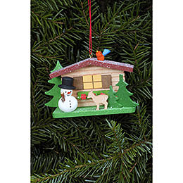 Tree Ornament - Snowman with Alpine House - 9,3x5,3 cm / 3.7x2.1 inch