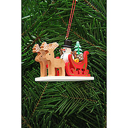 Tree Ornament - Snowman with Reindeer Sleigh - 9,7 cm / 3.8 inch
