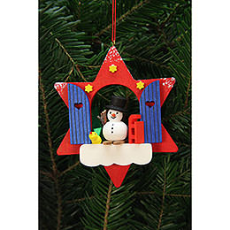 Tree Ornament - Star Window with Snowman - 9,5x9,5 cm / 4x4 inch