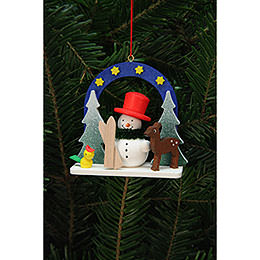 Tree Ornament - Starry Sky with Snowman - 7,5x7,1 cm / 3x3 inch