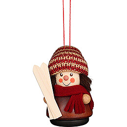 Tree Ornament - Teeter Man - Skier Natural - 8 cm / 3.1 inch