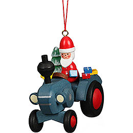 Tree Ornament Tractor with Santa Claus - 5,7x5,6 cm / 2.3x2.3 inch