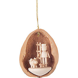 Tree Ornament - Walnut Shell with 3 Lucky Charms - 4,5 cm / 1.8 inch