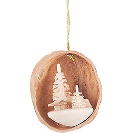 Tree Ornament - Walnut Shell with Deer - 4,5 cm / 1.8 inch