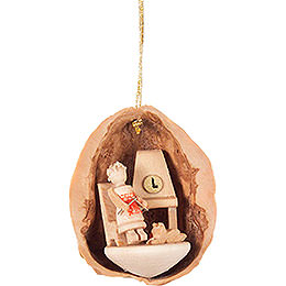 Tree Ornament - Walnut Shell with Elderly Lady - 4,5 cm / 1.8 inch