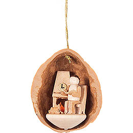 Tree Ornament - Walnut Shell with Elderly Man - 4,5 cm / 1.8 inch