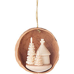 Tree Ornament - Walnut Shell with Forest Chapel - 4,5 cm / 1.8 inch