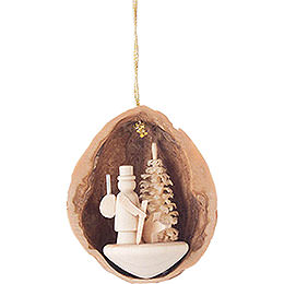 Tree Ornament - Walnut Shell with Forester - 4,5 cm / 1.8 inch
