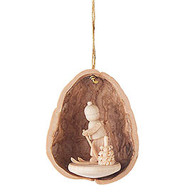 Tree Ornament - Walnut Shell with Skier - 4,5 cm / 1.8 inch