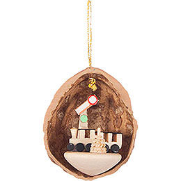 Tree Ornament - Walnut Shell with Train - 4,5 cm / 1.8 inch