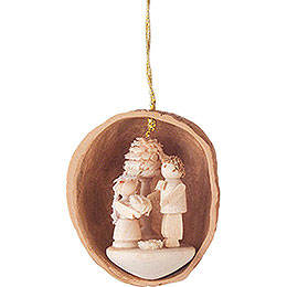 Tree Ornament - Walnut Shell with Wedding Couple - 4,5 cm / 1.8 inch