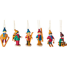 Tree Ornament - Winter Children colored, 6 pcs. - 6 cm / 2.4 inch